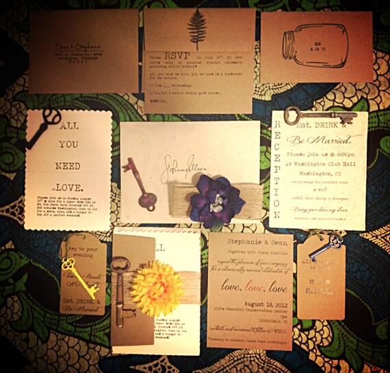 RUSTIC, VINTAGE, Whimsical, Custom DIY Wedding Invitation Suite - Printable pdf