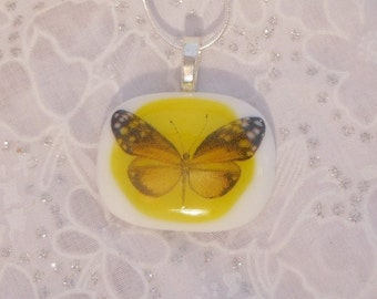 Dicroic Fused Glass Pendant, Dicroic Necklace, Dicroic Fused Glass Jewelry, Butterfly Pendant, Yellow Necklace