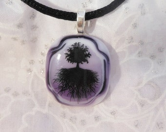 Tree of Life Pendant Necklace, Fused Glass Necklace, Fused Glass Jewelry