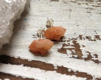 Quartz Point Earrings - Pecos Diamond Earrings - Quartz Cluster Earrings - Gemstone Earrings - Sterling Silver Studs, Boho, Gypsy, Yoga
