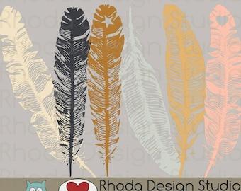 Neutral Color Feathers Digital Clip Art Retro stamps