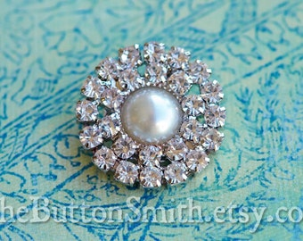 Rhinestone and Pearl Button -Kristen- (26mm) RS-036 Pearl center - 5 piece set
