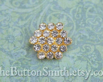 5 to 20 Pieces of Crystal Rhinestone Buttons (19mm) RS-004 in Gold Finish Perfect for Brooch Bouquet cake decor napkin rings hexagon