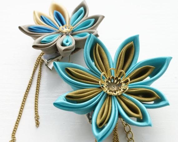 SALE - Aqua and Gold Kanzashi Flower Fascinator, Flower Brooch Pin, Hair Flower, Wedding Fascinator, Unique Bridal Head Piece,
