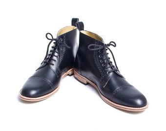 Unisex black leather bespoke oxford boots FREE WORLDWIDE SHIPPING