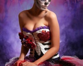 Day of the Dead Costume with Steel Boned Corset with Hand Painted Ribcage, Bustle Skirt with Roses, and Rose Hair Clips