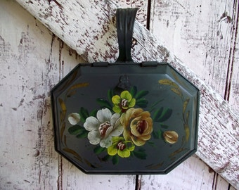 Silent Butler Tole Painted vintage Crumber Blue floral hand painted