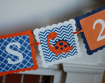 Dinosaur Banner, Name and Age Banner, Dinosaur Birthday, Dino Mite, Dinosaur Birthday Banner, Orange and Navy