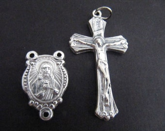 Italian Made Large Silver Crucifix with Matching Sacred Heart of Jesus/Holy Family Reversible Center - 1 pair