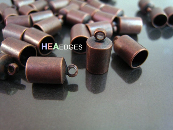 6pcs Red Copper End Caps 6mm - Red Copper Findings Leather Cord Ends Cap with Loop 12mm x 7mm ( inside 6mm Diameter )
