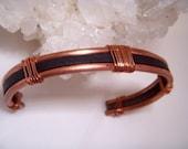 Men's Retro Copper & Leather Cuff Bracelet rustic boho wire wrap