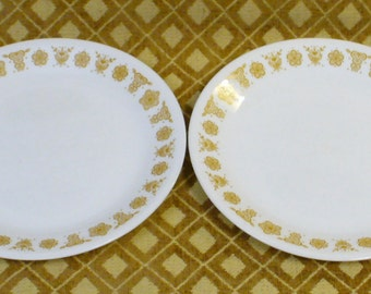 2 Salad Luncheon Plates Vintage Corelle Corning Ware Butterfly Gold 1970