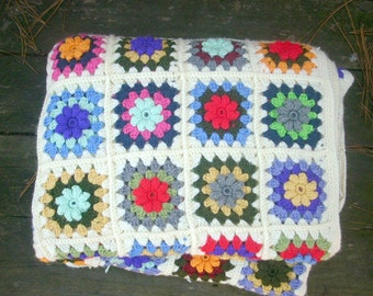 GRANNY SQUARE blanket, handmade crocheted multicolor granny afghan byILoveCrochetByAnna, ready to ship