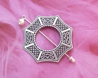 Silver Celtic Shawl Pin, Celtic Lapel Pin, silver shawl pin, stick pin, hat pin, octagon, fall fashion, silver scarf pin
