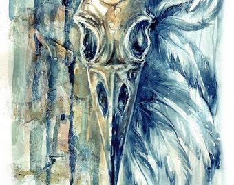 Raven skull - watercolor - 24x32cm - 9,4x12,6 in