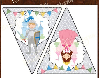 Princess and Knights Banner Instant Download! Princess Party Royal Celebration Knight in Shinning Armor Printable