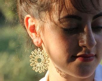 Large gold earrings , Organic circle  earrings , Sun flower earrings , Handmade by Adi Yesod