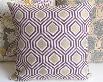 Purple and gold geometric decorative pillow,  throw pillow