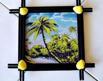 Decorative Tile -  Palm Tree, Bamboo and Shells