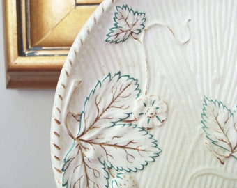Botanical Decor - Antique Majolica Plate with Leaves - Avalon Faience Strawberry Pattern - Nature Theme Country Chic - Mother's Day Gift