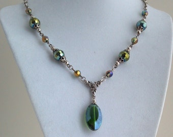 Green Swarovski Crystal Necklace