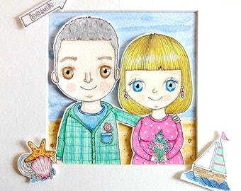 Custom Portrait illustration Couple Portrait 9 x 9 inches