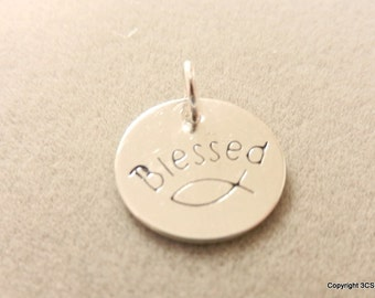 Religious or Inspirational Blessed Charm with Fish-Hand stamped