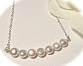 Pearl Necklace - Freshwater - Button pearls - Sterling Silver - High Quality - Carrie necklace - Bridal jewelry - gift -