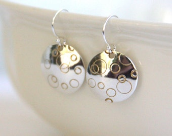 Sterling silver circle earrings, polka dot design, sterling silver ear wires, gift