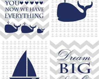Boy Whale Nursery Art, Nautical Nursery Decor, Anchor Nursery Decor, Boy Nursery Decor, Make A Splash Nursery Decor,  Boy Nautical Bedroom