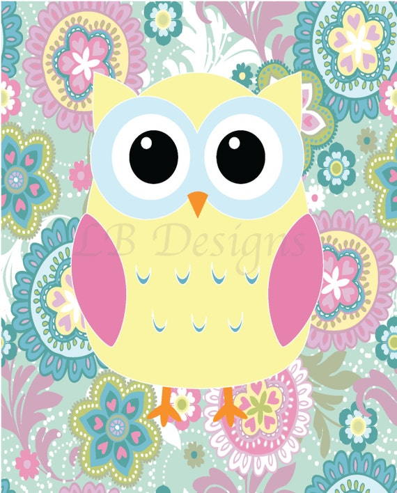 Girl Woodland Nursery Art Girl Owl Nursery Decor Girl Owl