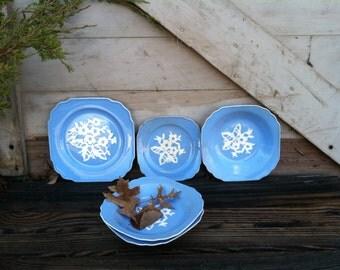 Vintage Harker Pottery Blue Cameoware Plates + Bowls - Antique Kitchen + Dining Room Decor, Whimsical Art Pottery, Partial Serving Ware Set