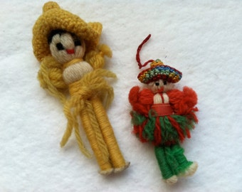 Little Vintage Yarn Ornament Duo