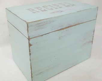 Shabby Recipe Box - Greeting Card Box -  Distressed - Shabby Cottage Chic - Green -  4X6 or 5X7 Wooden Recipe Box - Personalized