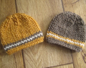 Newborn Yellow and Brown Chunky Wool Knit Beanies  - Boy Twin Set - Ready to Ship Autumn Fall Newborn Photography Prop, RTS Photo Prop
