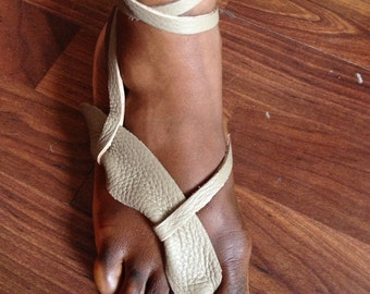 Leather sand colour toe sandals with ankel straps