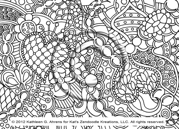 Abstract Butterfly Coloring Pages : Instant pdf download coloring page hand drawn by