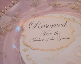 Reserved Table Signs Flat on plate
