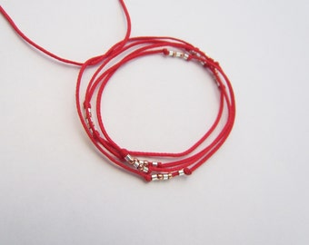 Tie it Red String Wrap Bracelet with silver and copper beads. Stacking red cord tie bracelet. Beaded wax cord ankle bracelet.  Israel gifts