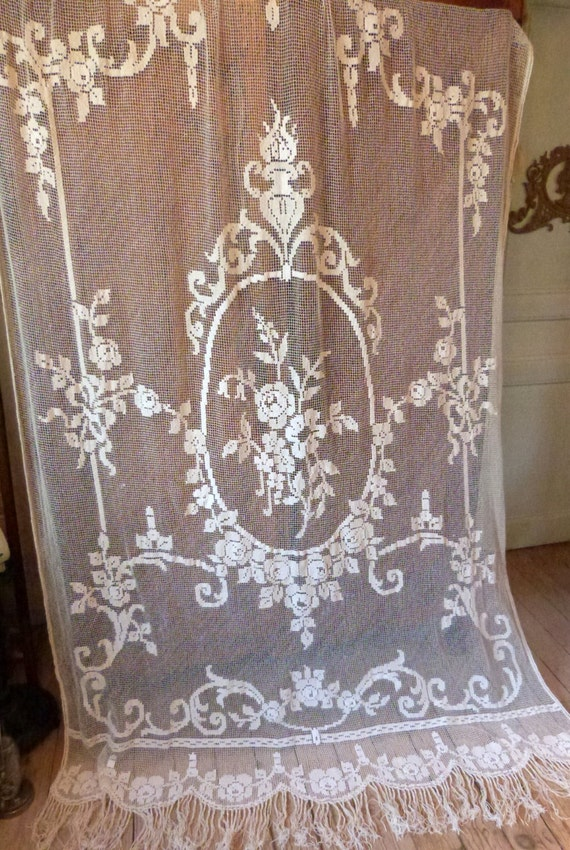 antique french filet lace window curtain drape panel handmade