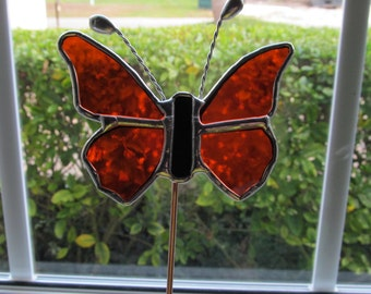 Stained Glass 5 Piece- Garden Sunset Orange Cathedral Glass Butterfly -  - Potted Plant Stake/Memorial Marker