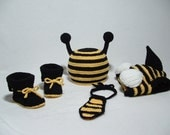 High Waist Stinger Bumble Bee Outfit with Wings Booties and Necktie ( 0 -3 ) Perfect for Photo Prop