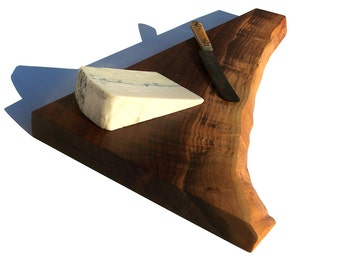 "Walnut  \ Wood \ 20 1/4"" x 11 1/2"" \ Serving Platter \ Cutting Board \ Extra Thick Wood \ Live Edge \ Salvaged Walnut"
