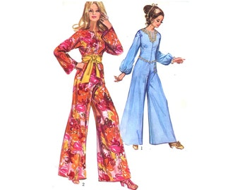 1960s Jumpsuit Pattern Jiffy Wide Leg Pant Dress Long Sleeve Easy Sew Kimono Sleeves Simplicity 9113 Bust 34 Vintage Sewing Pattern