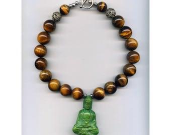 Green Jade Buddha with Tiger Eye