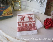 Red Reindeer Christmas Fringed Tea Towel for 1:12 scale Dollhouse Miniature