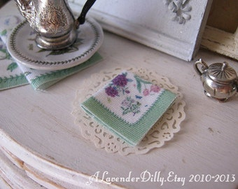 Botanical Mint Napkin for Dollhouse.