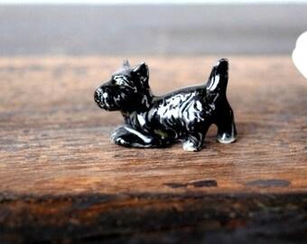 Antique Scottie Dog Miniature Porcelain Figurine, Vintage Black Mini Scotty Scottish Terrier