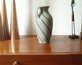 Vase by Bay Ceramic - Grey with handpainted Decor - German Design - Mid Century