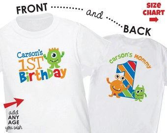 ADULT Monster Birthday Shirt - Front & Back Personalized 1st Birthday Shirt